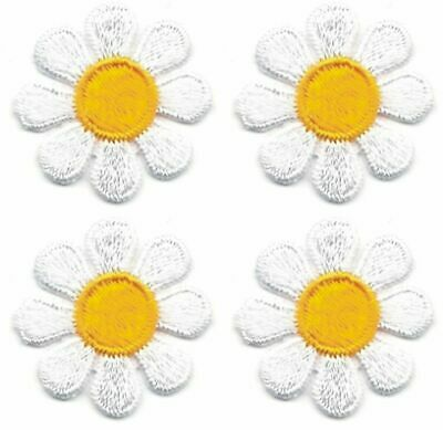 """1"""" Spring White Yellow Daisy Flower embroidery patch Lot of 4"""