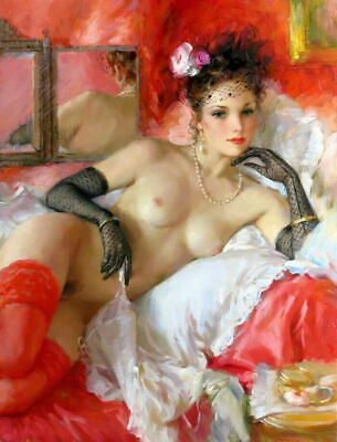 Home Decor Sexy naked woman in bed Oil painting Printed on Canvas P1331