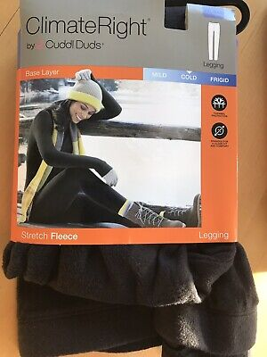 a994d4dbfbd13 (2) For 1 ClimateRight Cuddl Duds Women's Fleece Legging BLK NEW XXL Base  Layer