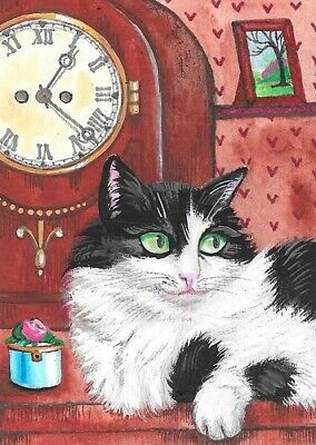 Print Of Aceo Painting Ryta Tuxedo Cat Mantel Clock Pink Rose Vintage Style Art