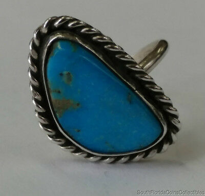 Estate Jewelry Beautiful Turquoise Stone Ring Sterling Silver Size 4.5
