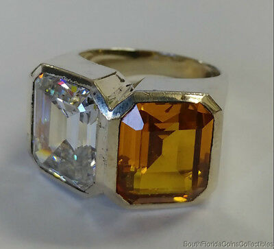 Estate Jewelry Beautiful Cz Cocktail Ring .925 Sterling Silver Band Size 6.5