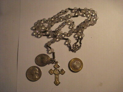Antique Awesome Spanish Rosary Glass & Sterling Silver 19 Century