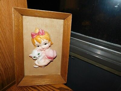 Girl Holding White Kitten Vintage Mid Century Picture 3D Ceramic in Wood Frame