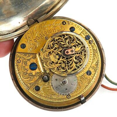 .1814 English Sterling Silver Verge Fusee Pocket Watch. J & W Blaylock, Longtown