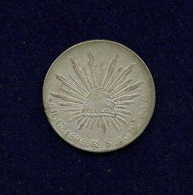 MEXICO REPUBLIC GUANAJUATO MINT 1896-GoRS  8 REALES SILVER COIN, AU/UNCIRCULATED