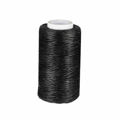 Leather Sewing Stitching Flat Waxed Thread String Cord (150D 1mm 50M, Black )