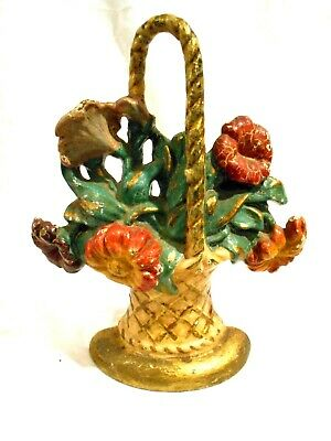 Vintage Cast Iron Door Stop Basket of Flowers  10 x 8 Hubley #143