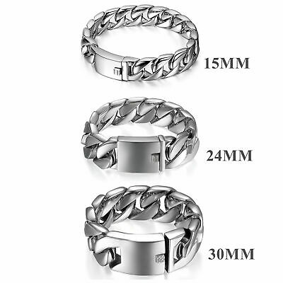 15/24/30mm Men Polished Stainless Steel Heavy Large Biker Curb Chain Bracelet