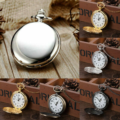 Antique Steampunk Pocket Quartz Watch Pendant Necklace Vintage Chain Gifts