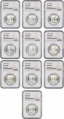 Lot of 1963-D 50c NGC MS64 FBL (10 Coins) - Franklin Half Dollar