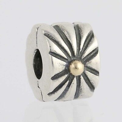NEW Pandora Sunburst Clip Charm Sterling Silver 14k Gold 790216 ALE Retired Bead