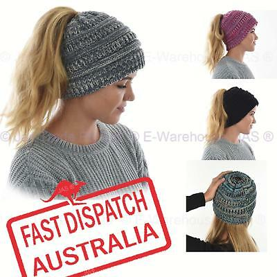 Ladies Girls Women Knit Knitted Winter Pony Tail Messy Bun Beanie Hat Ear Warmer