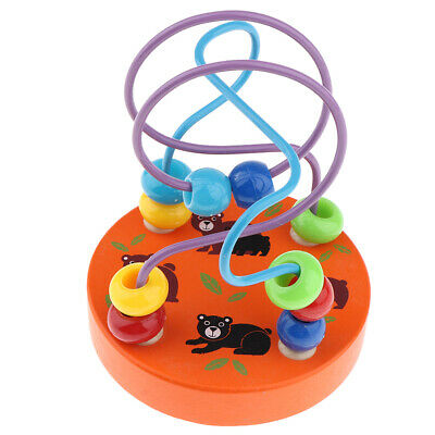 Wooden Bead Maze Roller Coaster Activity Cube Educational Abacus Beads Toys