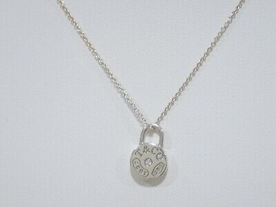 TIFFANY & CO. sterling silver 1837 Round Lock with diamond pendant necklace 16""