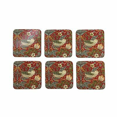 """Set Of 6 Strawberry Thief Red Cork Backed Placemats 30.5X23X0.6Cm - 12X9X0.25"""""""