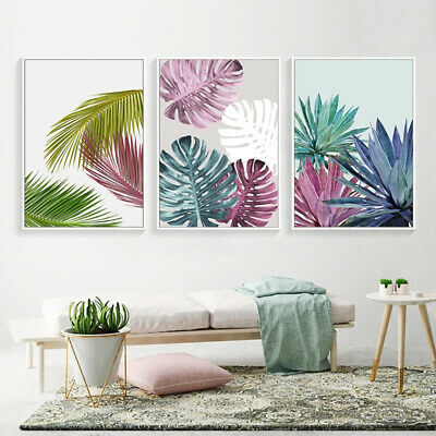 Abstract Plant Leaf Wall Art Canvas Painting Nordic Poster Picture Bedroom Decor