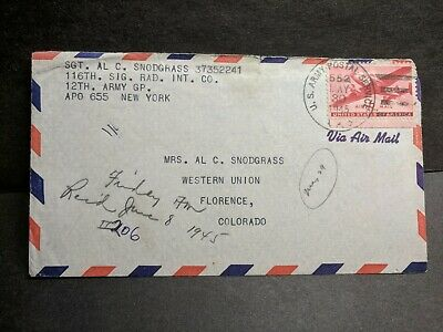 APO 655 WIESBADEN, GERMANY 1945 WWII Army Cover 116th SIG RAD INT Co APO 552