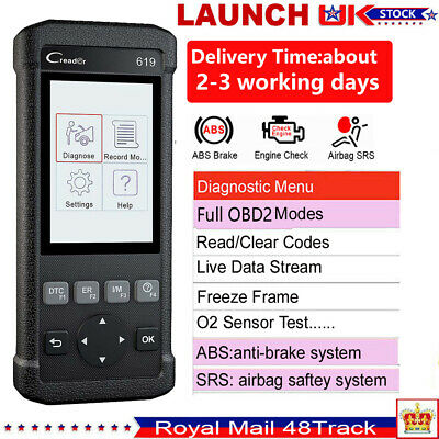 Launch CR619 Car Fault Code Reader ABS SRS Airbag OBD2 Auto Diagnostic Scanner