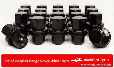Black OE Style Wheel Nuts (20) 14x1.5 Nuts For Range Rover [L405] 12-19