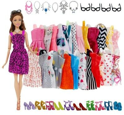 30 Pack Barbie Doll Clothes Party Gown Outfits Shoes Glasses Necklaces for Girls
