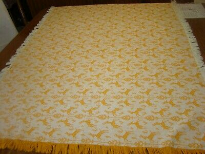 "1940'S Vintage Cotton Woven Impala Designed Tablecloth 33"" By 50"""