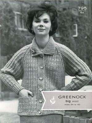 Original Vintage Greenock Knitting Pattern 795 - Ladys raglan jacket in rib patt