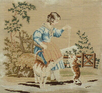 Antique Tapestry Woolwork Needlework * Young Girl & Playful Pet Cats  Circa 1810