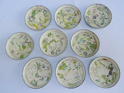 Set of 9 Vintage Small Miniature Painted Tin Dishes - Floral Design 6cm Diameter