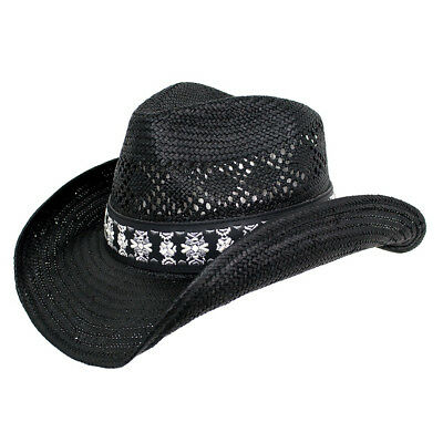 380ff4afe7958 PETER GRIMM COWBOY Cowgirl Hat Straw Western Rope Elastic Band Bead ...
