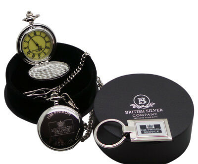 HMP PRISON Engraved Personalised Pocket Watch and Keyring HM JAIL OFFICER WARDEN