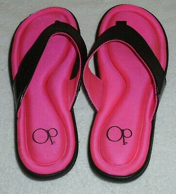 817e6f29fff6 Ladies OP Hot Pink   Black Memory Foam Flip Flops Sandals Size 9 10 NEW