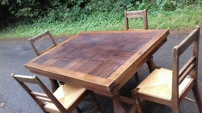 Vintage French Extending Parquet Top Dining Table & 4 Matching Chairs
