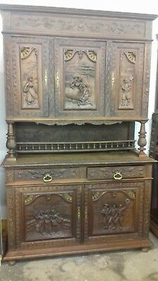 Antique Stunning19Thc French/Breton Hand Carved 3 Piece Sideboard/Keys