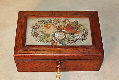 19th c Victorian Rosewood Dresser Jewelry Table Box w Beaded Needlepoint & Key