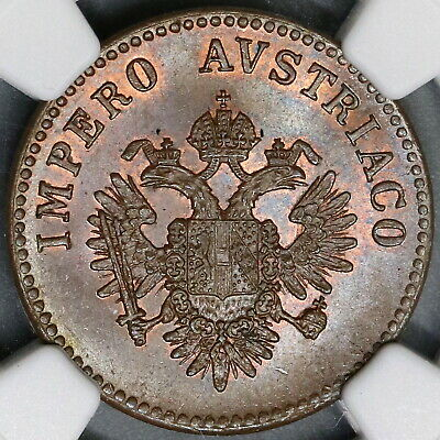 1852-V NGC MS 65 Lombardy Venetia 5 Centesimi Mint State Coin (19031101C)