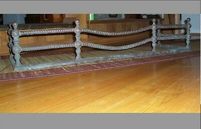 Antique Late 1800's Unusual Design Fancy Rope Brass + Cast Iron Fireplace Fender