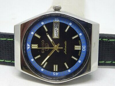 *vintage Seiko 5 Day&date Automatic Black Color Dial Nice Figure Working Watch