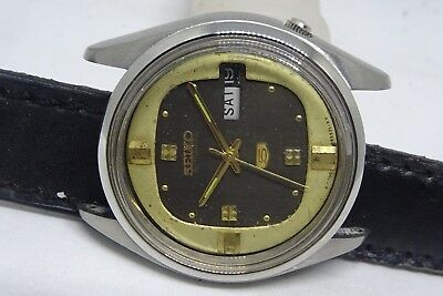 *vintage Seiko 5 Day&date Automatic Brown Color Dial Golden Figure Man's Watch