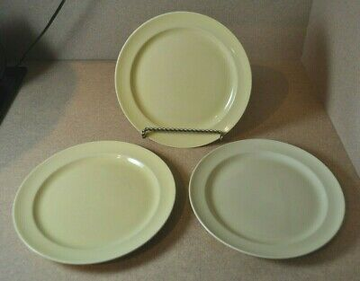 """3 - Vintage LuRay TS&T Pastel Yellow 9"""" Luncheon Plates"""