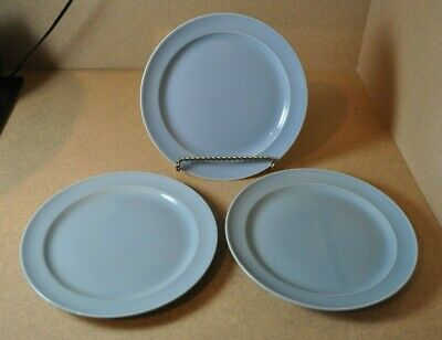 """3 - Vintage LuRay TS&T Pastel Blue 9"""" Luncheon Plates"""