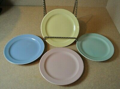 4 - Vintage LuRay TS&T Pastel Bread and Butter Plates-Pink, Blue, Yellow & Green