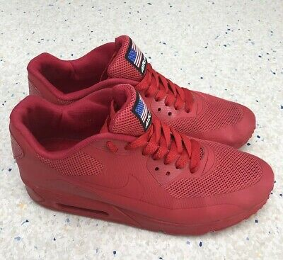 super popular 98427 b05c1 Nike Air Max 90 Hyperfuse Red Independence Day USA Trainers Shoe Size 9UK