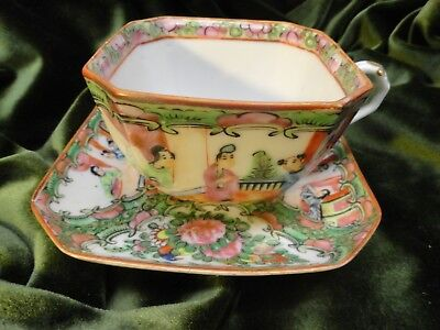 """Rare  8"""" Old  Plate  1800's  China  &  2  Antique  Square  Cups  /  Sq.  Saucers"""