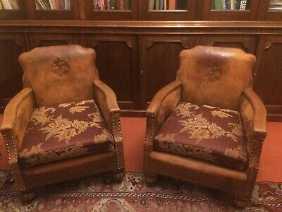 Pair Of Leather Club Chairs Very Unusual Refurbished