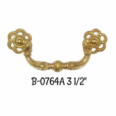 """3 1/2""""Colonial Revival Style Solid Brass Bail Pull Antique Vintage Style Old"""