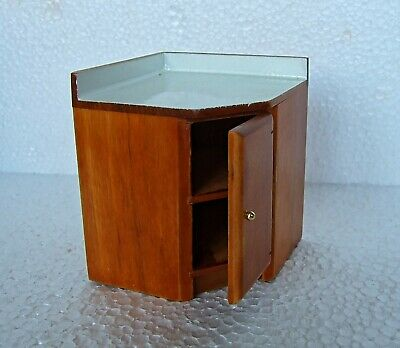 Dolls House / Miniature  1:12  Furniture Antique Pine Colour Corner Kitchen Unit