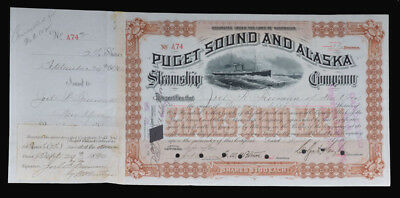 Puget Sound and Alaska Steamship Company Stock Certificate