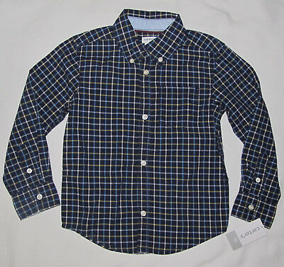 New Carters Blue White Plaid Long Sleeve Button Dress Shirt Toddler Boys Size 4T
