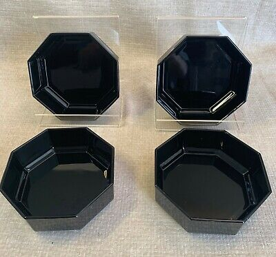 """Arcoroc Octime Black Glass 5-5/8"""" Cereal Bowls made in France - Set of 4"""